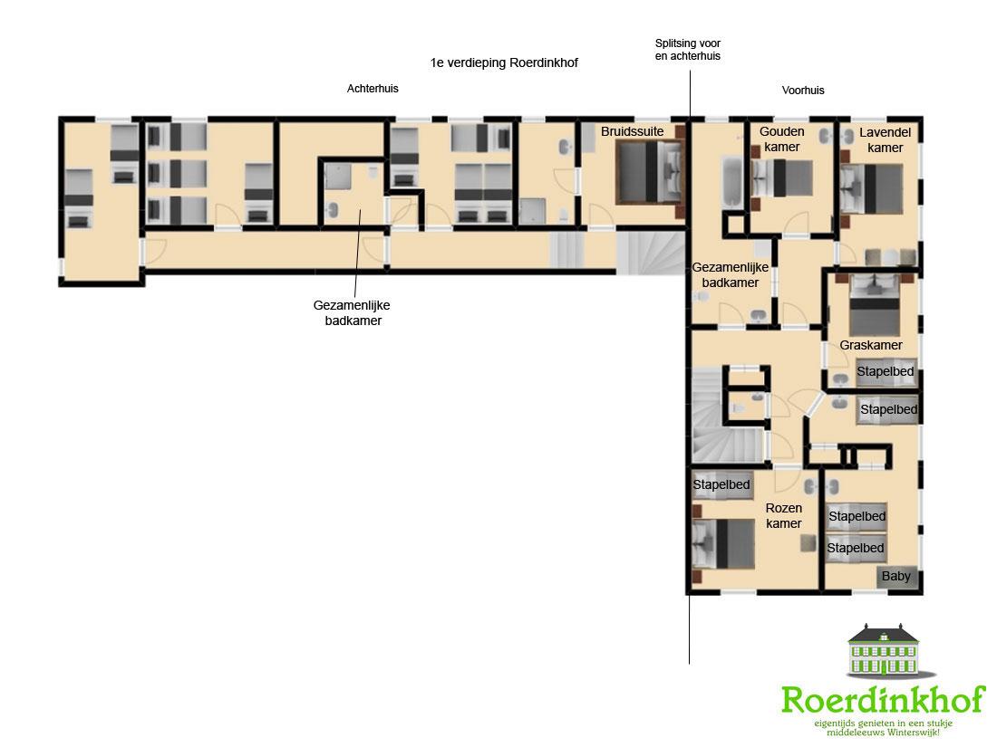 Plattegrond 1e verdieping hele huis