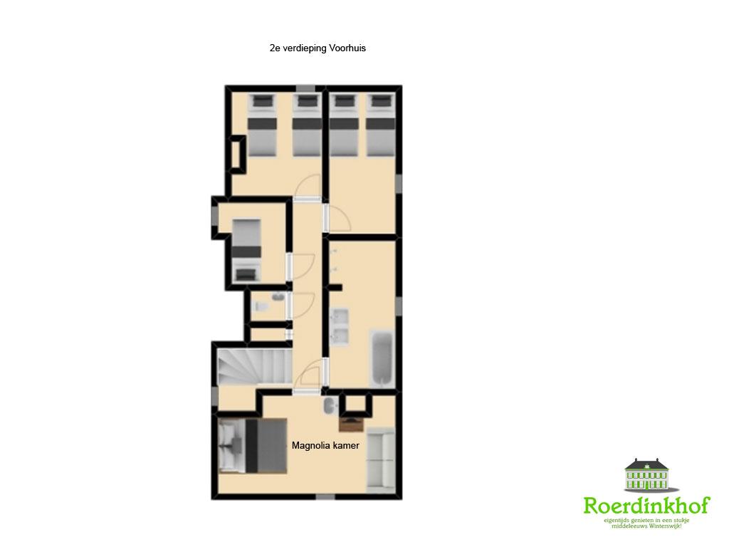 Plattegrond 2e verdieping voorhuis