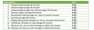 prijslijst massage wellness